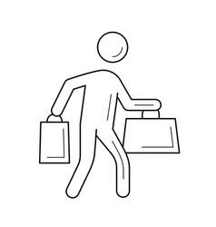 Shopper with shopping bag line icon vector