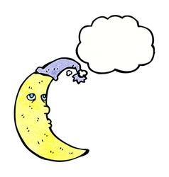 sleepy moon cartoon with thought bubble vector image