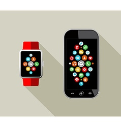 Smart watch and mobile phone in flat art style vector