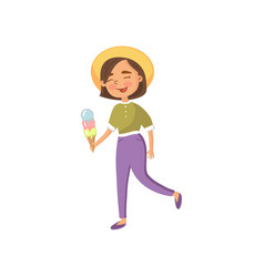 smiling young woman in a hat walking and eating vector image