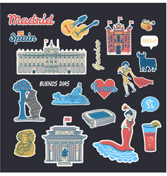 Stickers collection with spain symbols vector