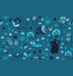 stone age pattern in blue colors vector image