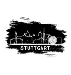 stuttgart germany city skyline silhouette hand vector image