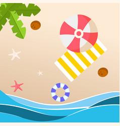summer beach red umbrella yellow beach mat backgro vector image