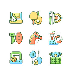 summer camp activities rgb color icons set vector image
