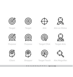 target and aim icons set client targeting vector image