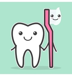 Tooth and toothbrush are best friends vector image