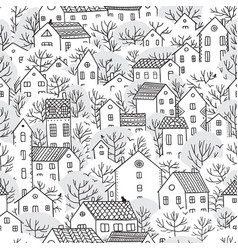 trees and houses seamless pattern winter vector image