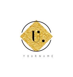 u letter logo with golden foil texture vector image
