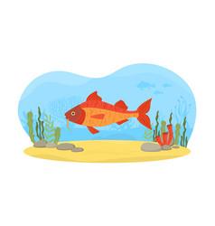 Underwater nature scene with swimming fish vector