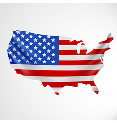 Usa flag in form of map united states of america vector