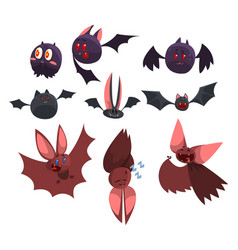 vampire bat cartoon characters set funny bats vector image