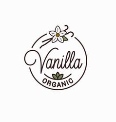 vanilla logo round linear logo vanilla flower vector image