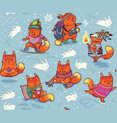 Winter pattern with foxes characters in cartoon vector
