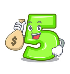 with money bag character number five at wooden vector image