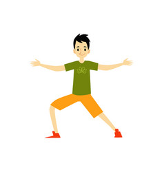 young man character doing yoga exercise cartoon vector image