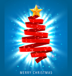 christmas tree made of red ribbon on blue vector image vector image