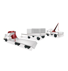 Flatbed Trailer with Utility Trailer and Tow Truck vector image