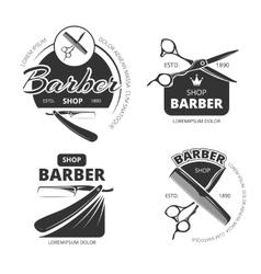Retro barber shop logo labels and badges vector image vector image