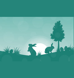 silhouette of easter bunny on green backgrounds vector image
