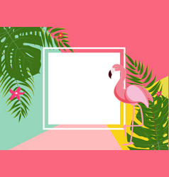cute summer abstract frame background with pink vector image vector image