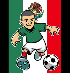 mexico soccer player with flag background vector image vector image