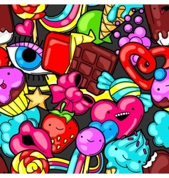 Seamless kawaii pattern with sweets and candies vector image