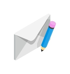 Closed envelope and pencil icon vector image