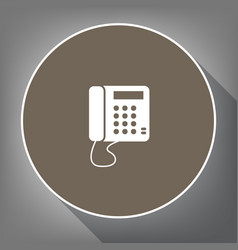 communication or phone sign white icon on vector image vector image