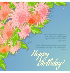 Floral decorative card with chrysanthemum vector image vector image