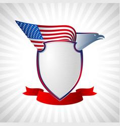 eagle us shield flag wing flying background grey vector image