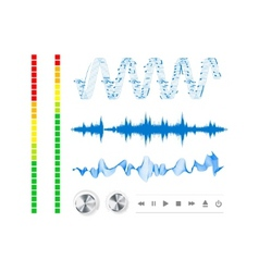 notes buttons and sound waves vector image vector image