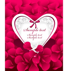 Post card or frames or banners with heart red p vector image