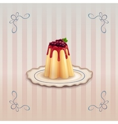 Sweet pudding with currants on vintage plate vector image