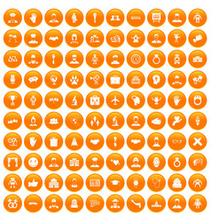 100 handshake icons set orange vector