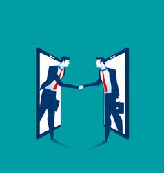 Agreement businessman handshake on smartphone vector