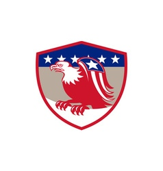 American Eagle Flag Wings Perching Crest Retro vector