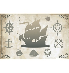 Ancient ships vector image