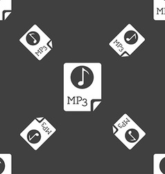 Audio MP3 file icon sign Seamless pattern on a vector image