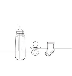 Baby bottle booties and pacifier one line icon set vector