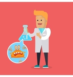 Bacteriologist with Bacteria in Glass Flask vector image
