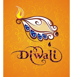 Beautiful greeting card for festival diwali vector