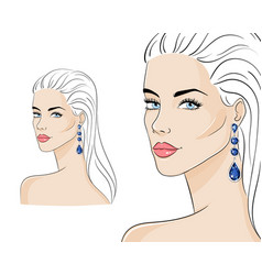 beautiful woman wearing luxury jewelry vector image