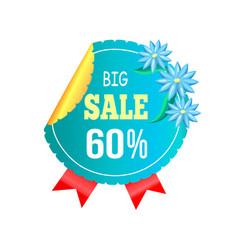 Big sale off round advert label blooming flowers vector