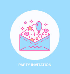 Birthday party invitation line icon logo vector