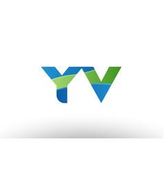 blue green yv y v alphabet letter logo vector image