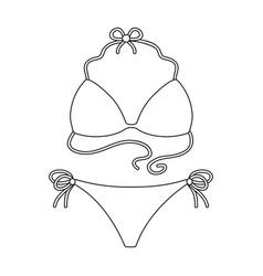 Blue swimsuit for women summer rest single icon vector
