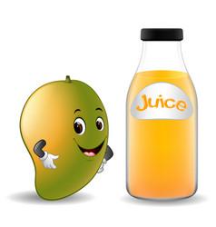 Bottle of mango juice with cute mango cartoon vector