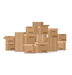 Brown stacked cardboard boxes vector