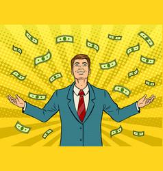 businessman and money rain pop art vector image